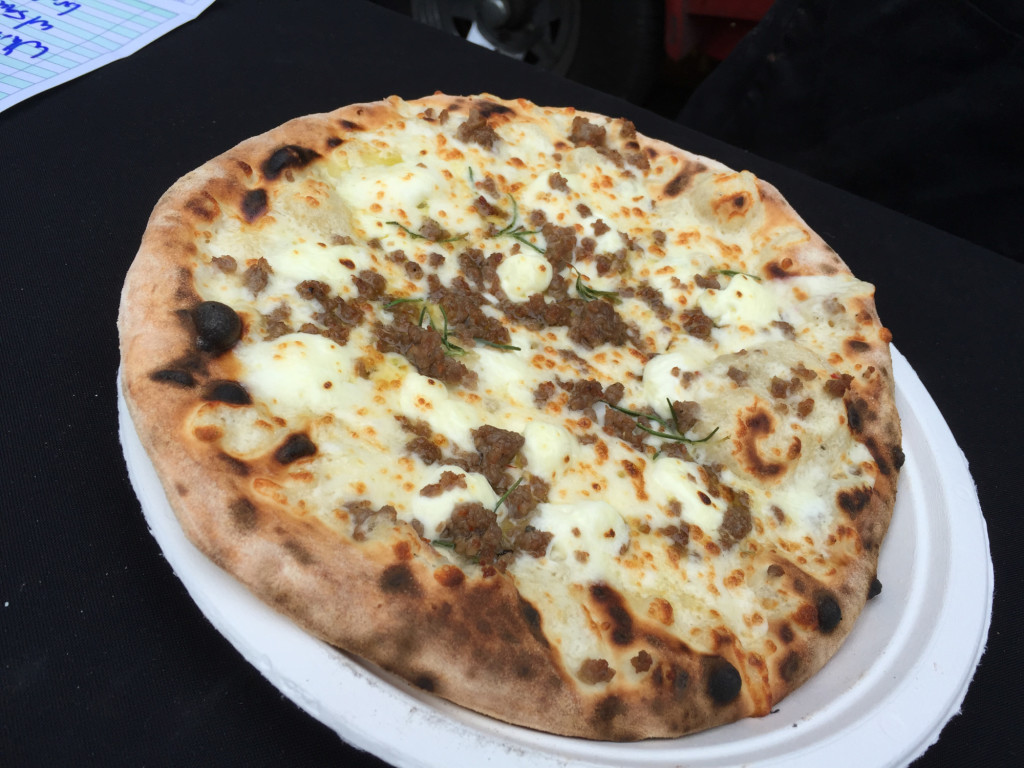 white with sausage pizza